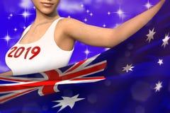 Śliczna dziewczyna trzyma Australia flagę w przodzie na błękitnych kolorowych chmurach - bożych narodzeń i 2019 3d nowego roku po royalty ilustracja