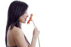 Śliczna dziewczyna wącha kwiatu obrazy royalty free