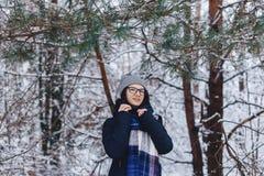 śliczna dziewczyna w szkłach pod sosną rozgałęzia się z śniegiem wewnątrz w zimie zdjęcie stock