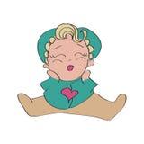 Śliczna dziewczynka w turkusie, zielone piżamy Małe dziecko z tłuściuchnymi policzkami Obraz Royalty Free