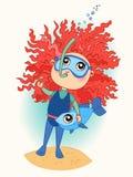 Śliczna dziewczynka w wodnym dopłynięciu Obraz Royalty Free