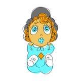 Śliczna dziewczynka z niebieskimi oczami w błękitnych piżamach Ilustracja czerwony z włosami dziecko z koicielem Obrazy Stock