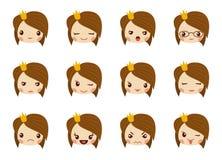 Śliczna dziewczyny twarz z czerwonym łękiem pokazuje różną emocja wektoru ilustrację Wektorowy ustawiający emoji ilustracji