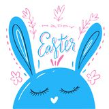 Śliczna Easter królika wektorowa ilustracja, ręka rysująca twarz królik Kartka z pozdrowieniami z Szczęśliwym Wielkanocnym writin ilustracji