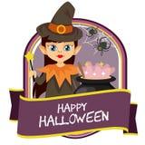 Śliczna Halloween odznaka z czarownik kreskówką ilustracji