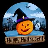 Śliczna Halloweenowa cmentarz scena ilustracja wektor