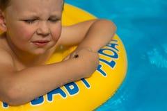 Śliczna i śmieszna mała dziewczynka w basenie, pływa w nadmuchiwanym pierścionku, styl życia pojęcie Nadmuchiwany okrąg Lato base zdjęcia royalty free