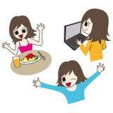 Śliczna ilustracja szczęśliwa dama ilustracja wektor