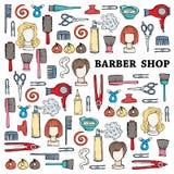 Śliczna ilustracja z ręka rysującymi symbolami fryzjera męskiego sklep Obrazy Stock