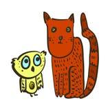 Śliczna ilustracja z zmieszaną sową i czerwień kotem ilustracja wektor
