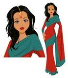Śliczna Indiańska kobieta jest ubranym pięknego saree Zdjęcie Stock