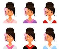 Śliczna Japońska dziewczyna w kimonie Fotografia Royalty Free