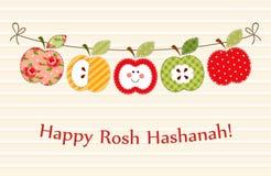 Śliczna jaskrawa jabłko girlanda jako Rosh Hashanah nowego roku Żydowscy symbole ilustracja wektor