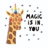 Śliczna jednorożec żyrafa royalty ilustracja