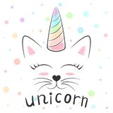 Śliczna jednorożec, kota meow ilustracja Śmieszny princess i korona dla druk koszulki Ręka rysujący styl ilustracja wektor