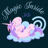 Śliczna jednorożec odizolowywający set, magiczny Pegasus latanie z skrzydłem i róg na tęczy, fantazi końska wektorowa ilustracja, Zdjęcie Stock