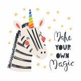 Śliczna jednorożec zebra royalty ilustracja