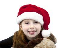 śliczna kapeluszowa mała rudzielec Santa Zdjęcia Stock