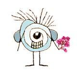 Śliczna karykatura z kwiatami w Ona ręka Obrazy Stock