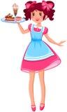 Śliczna kelnerka ilustracja wektor