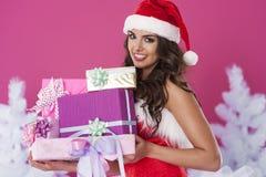 Śliczna kobieta Santa Claus obraz royalty free