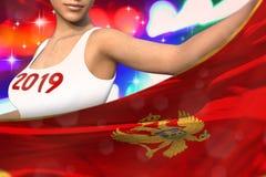 Śliczna kobieta trzyma Montenegro flagę w przodzie na partyjnych światłach - bożych narodzeń i 2019 3d nowego roku pojęcia chorąg ilustracja wektor