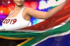 Śliczna kobieta trzyma Południowa Afryka flagę w przodzie na partyjnych światłach - bożych narodzeń i 2019 3d nowego roku pojęcia ilustracja wektor