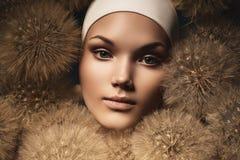 Śliczna kobieta z dandelions wokoło twarzy Obrazy Stock