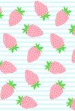 Śliczna kolorowa truskawkowa ilustracja na białym i błękitnym pasiastym tle Obraz Royalty Free