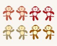 Śliczna koloryt małpy kreskówka royalty ilustracja
