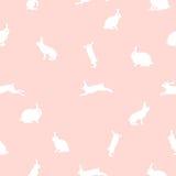 Śliczna królik ilustracja, bezszwowy wzór na różowym tle Obraz Royalty Free