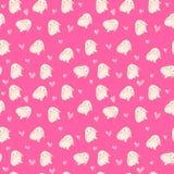 Śliczna królika i serc ilustracja, bezszwowy wzór na różowym tle Zdjęcia Stock