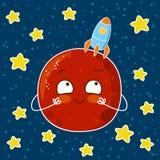 Śliczna kreskówka Mars z rakietą Fotografia Stock
