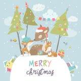 Śliczna kreskówka rogaczy rodzina Wesoło boże narodzenia i Szczęśliwy nowy rok zdjęcie stock