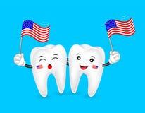 Śliczna kreskówka zębu charakteru falowania flaga amerykańska Obrazy Royalty Free
