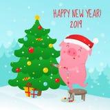 Śliczna kreskówki świnia dekoruje choinki royalty ilustracja