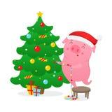 Śliczna kreskówki świnia dekoruje choinki Symbol 2019 nowy rok również zwrócić corel ilustracji wektora royalty ilustracja
