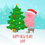 Śliczna kreskówki świnia dekoruje choinki Symbol 2019 nowych y ilustracji
