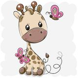 Śliczna kreskówki żyrafa, motyle i royalty ilustracja
