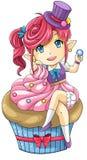 Śliczna kreskówki babeczki boginka bogini deser, tworzy ve Zdjęcia Royalty Free