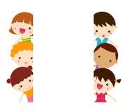 Śliczna kreskówki dzieciaków rama royalty ilustracja