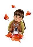 Śliczna kreskówki dziewczyna z psimi i spadają jesień liśćmi Obraz Stock