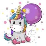 Śliczna kreskówki jednorożec z balonem royalty ilustracja