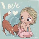 Śliczna kreskówki mała dziewczynka z kotem Zdjęcia Stock