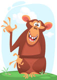 Śliczna kreskówki małpy charakteru ikona Szympans maskotki falowania przedstawiać i ręka obraz stock
