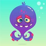 Śliczna kreskówki ośmiornica Wektorowa Halloweenowa purpurowa ośmiornica z czułkami na podwodnym tle ilustracja wektor