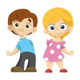 Śliczna kreskówki pary chłopiec i dziewczyna stoimy i my uśmiechamy się wy ilustracja wektor