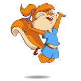 Śliczna kreskówki wiewiórka w skok komarnicie ilustracja wektor