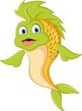 Śliczna kreskówki zieleni ryba royalty ilustracja
