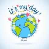 Śliczna kreskówki ziemi kula ziemska. Ziemskiego dnia tło. Zdjęcia Royalty Free